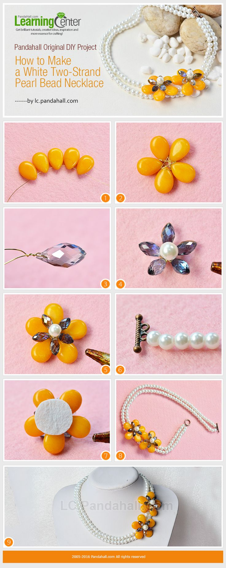 Pandahall Original DIY Project - How to Make a White Two-Strand Pearl Bead Necklace from LC.Pandahall.com #pandahall