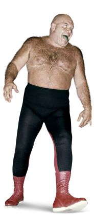 """George """"The Animal"""" Steele  Height: 6'1""""  Weight: 275 lbs.  From: Detroit, Mich.  Signature Move: Flying Hammerlock  Career Highlights: 1995 WWE Hall of Fame Inductee"""