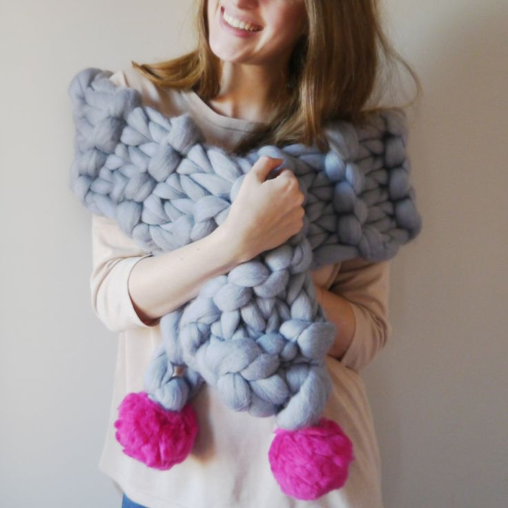 Chunky knitted scarf winter fashion