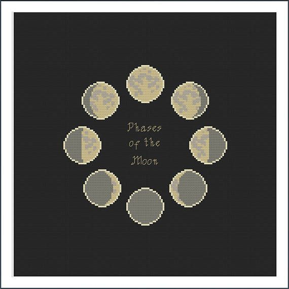 Phases of the moon Cross-stitch pattern  digital download