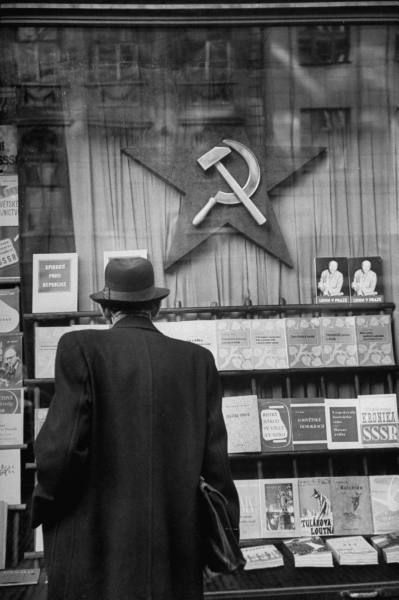 Marxist bookstore in Prague, Czechoslovakia, December 1947. Photograph by Walter…