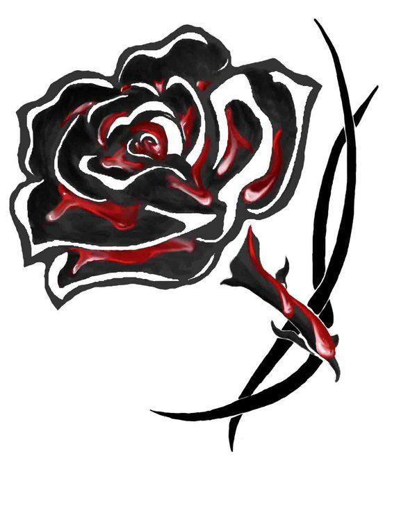 Blood soaked black rose tattoo by ~greatthepat on deviantART