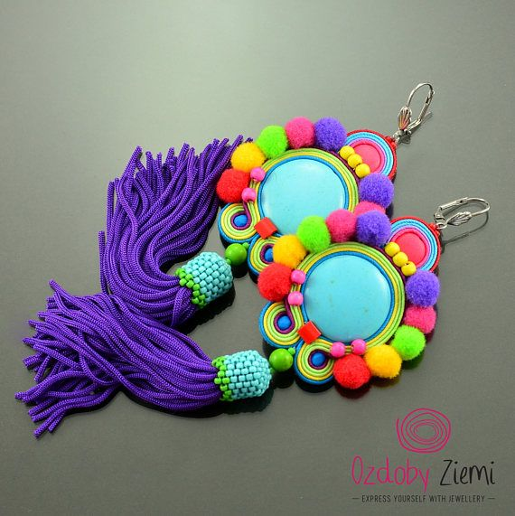 Colorful pom pom earrings, pompom jewelry, turquoise tassel earrings,  dangle pom pom earrings, purple fringe earrings, colorful soutache