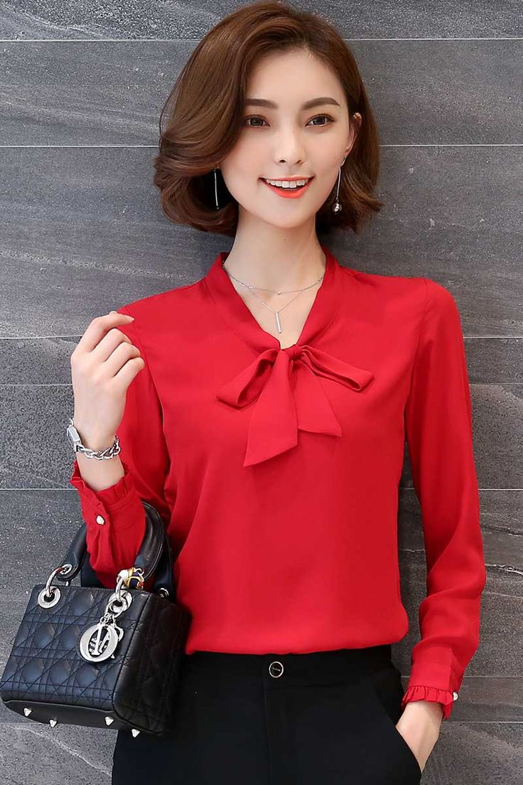 Women's #red long sleeve button #shirts butterfly fly tie decorated, V neck, Fluted Sleeve, casual, outdoor, leisure, work Occasions