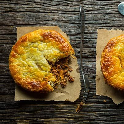 Jason Crew of Sheep Station in Park Slope, Brooklyn, whips up his Australian meat pies for some football game chow.