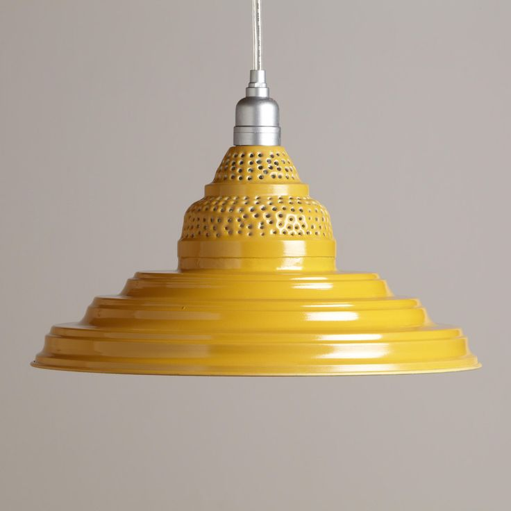 Ooooooh. For the Kitchen Bar: Yellow Punched Metal Pendant | World Market