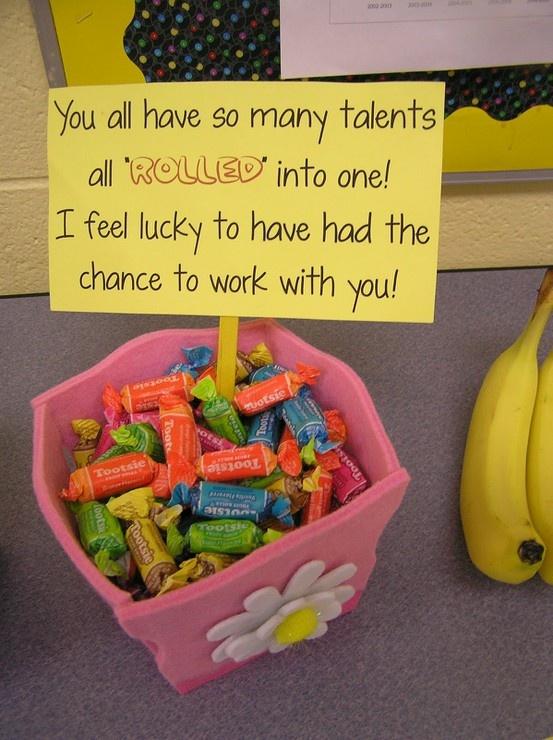 teacher gift with tootsie rolls
