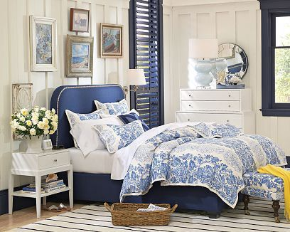 white blue yellow romantic country bedroom blue bed