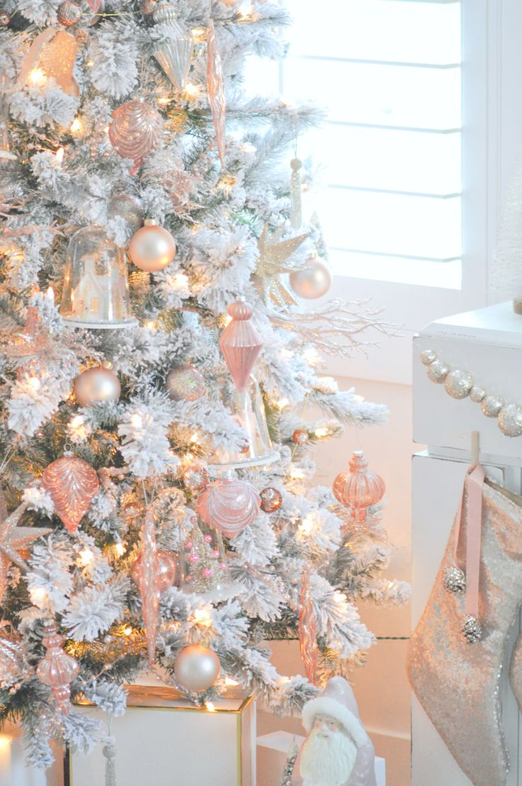 Blush pink, rose gold and white flocked vintage inspired Christmas tree by Kara's Party Ideas | Kara Allen for Michaels