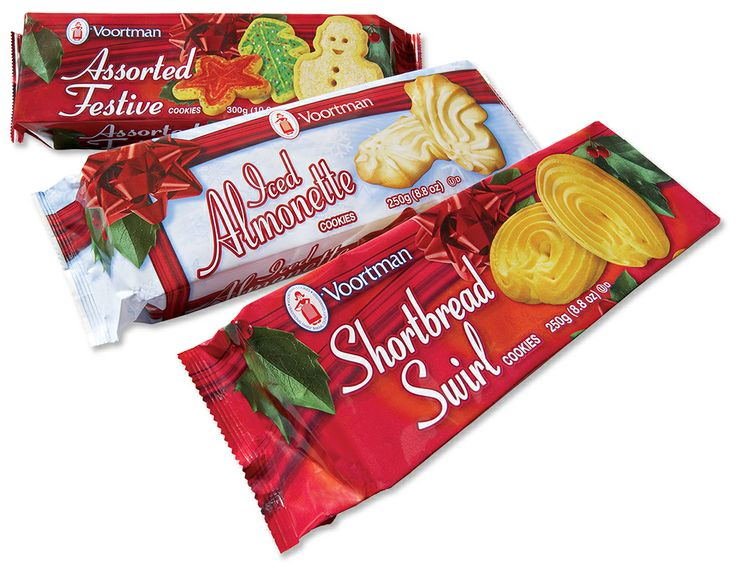 Assorted Festive Cookies, Iced Almonette Cookies and Shortbread Swirl Cookies - Voortman Cookies Christmas Packs trio
