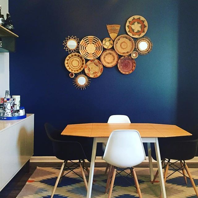 Love this shot of @gamendoza's dining room! Our collection of wall baskets against that blue accent wall is making me want to beg her to invite us over for dinner. We are working on our next batch of baskets, so stay tuned!