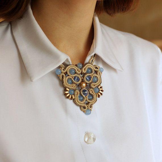 """Сутаж кулон """"Воздушный голубой"""", натуральные камни, стиль модерн, серьги в подарок"""