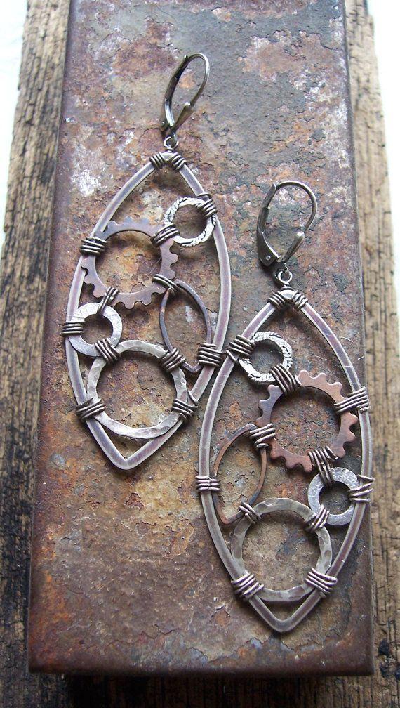 Steampunk Earrings, Mixed Metal Earrings, Metalwork Earrings,Gearrings, Industrial Jewelry.