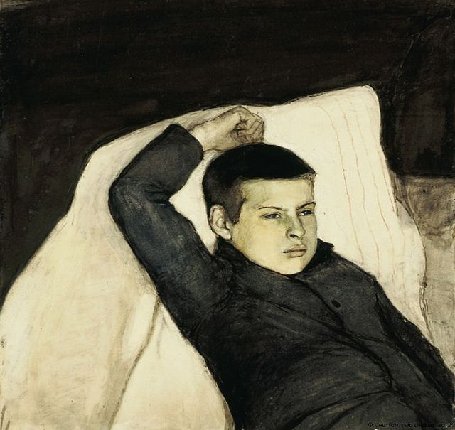 Enckell, Magnus (1870-1925) - 1892 Reclining Boy (Finnish National Gallery, Helsinki, Finland) Graphite and water color on paper glued on cardboard; 54 x 57 cm. Magnus Knut Enckell was a Finnish painter.