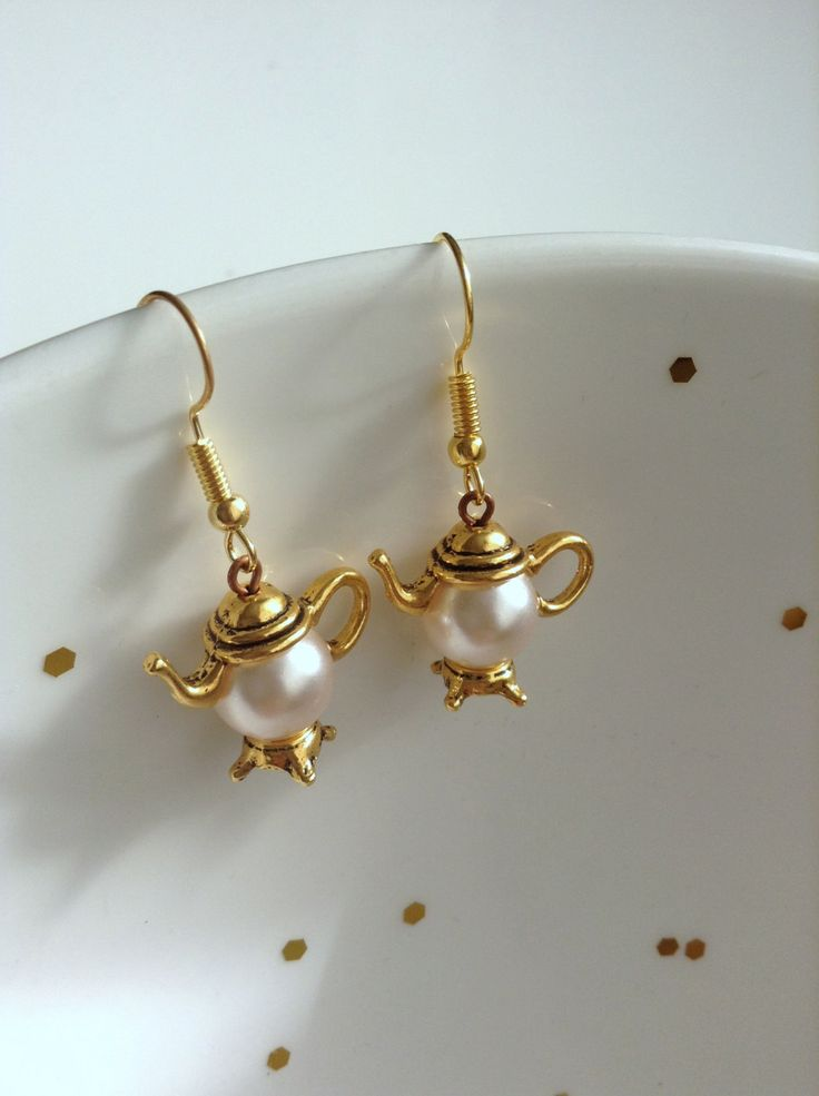 Antique Gold Teapot Earrings, Handmade Elegant Jewelry by ViewofBeauty on Etsy