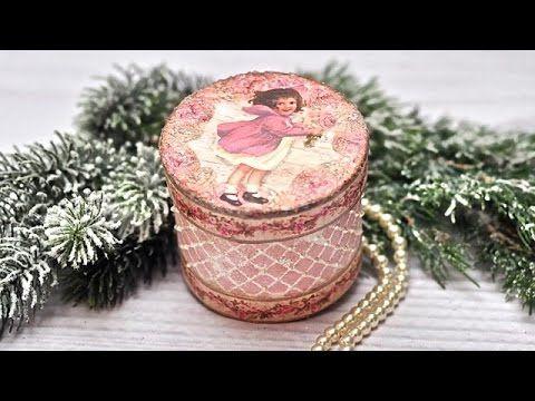 Decoupage pudełeczko z dziewczynką Tutorial DIY - YouTube