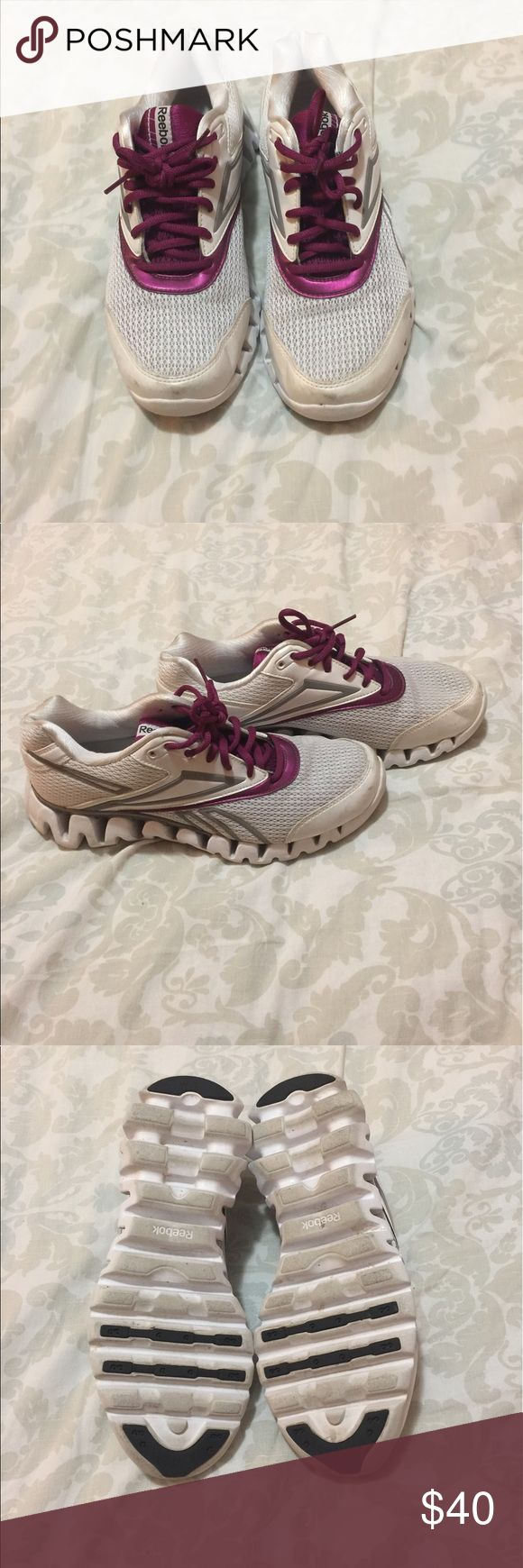 Reebok zig zag running shoes In good condition. True to size. Color is white and a maroon color. There is no stench to shoe.  Very comfortable. Prices are negotiable make me a offer. Reebok Shoes Sneakers