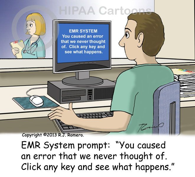 Cartoon Nurse Sees Emr Message On Computer Error Never