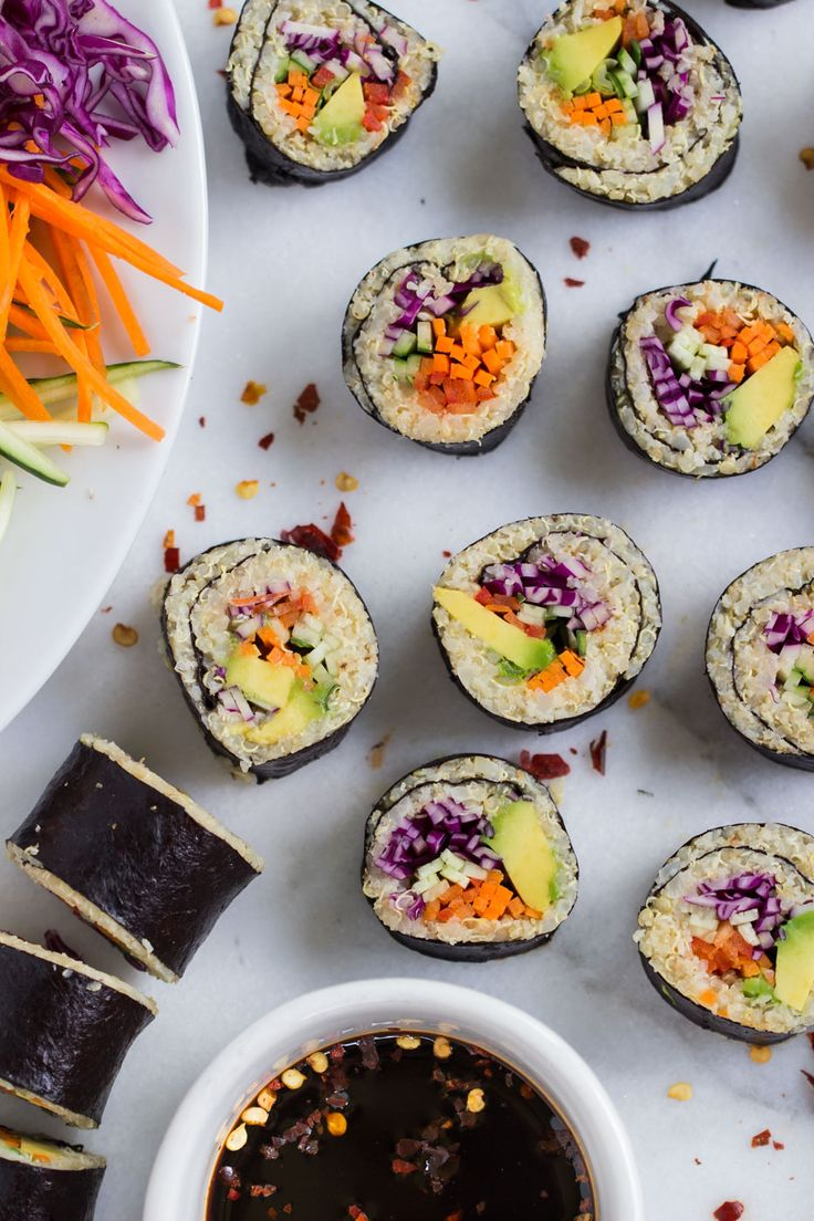 cauliflower rice quinoa sushi packed full of fresh veggies