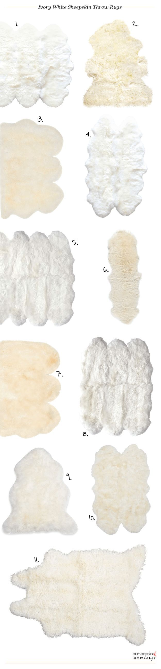 ivory white sheepskin throw rugs, interiors product roundup, get the look