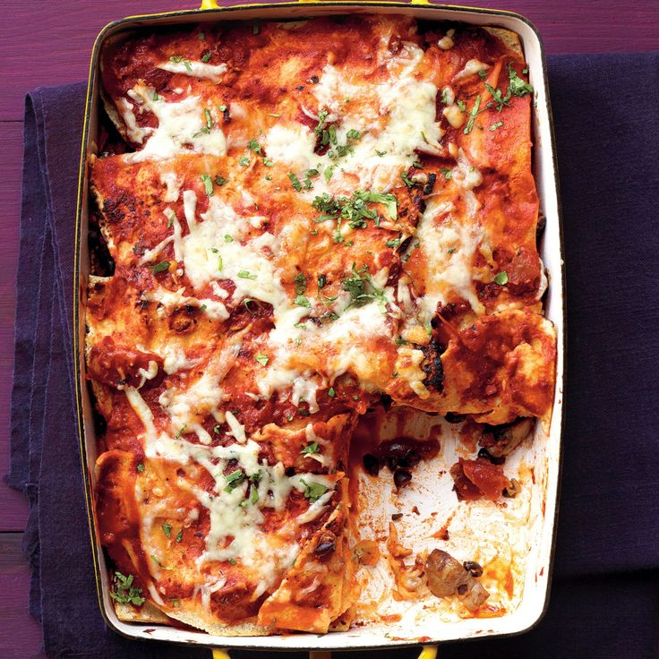 Sauteed mushrooms, cooked black beans, and store-bought salsa are layered with corn tortillas in a baking dish to create this Tex-Mex-inspired casserole, perfect for any weeknight meal. Top with Monterey Jack cheese and bake until melted and bubbling.