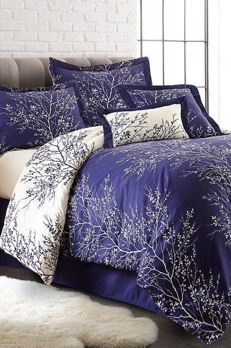 Navy & Ivory Foliage Six-Piece Comforter Set