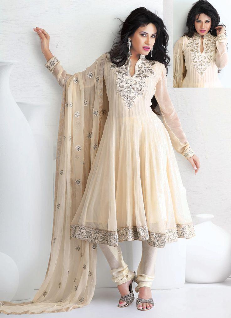Beautiful Cream Anarkali Suit