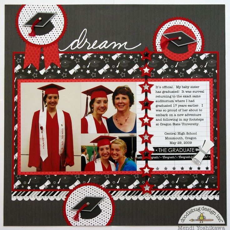 "Doodlebug ""The Graduates"" Layout by Mendi Yoshikawa - Scrapbook.com - Great graduation layout featuring Doodlebug Design products."