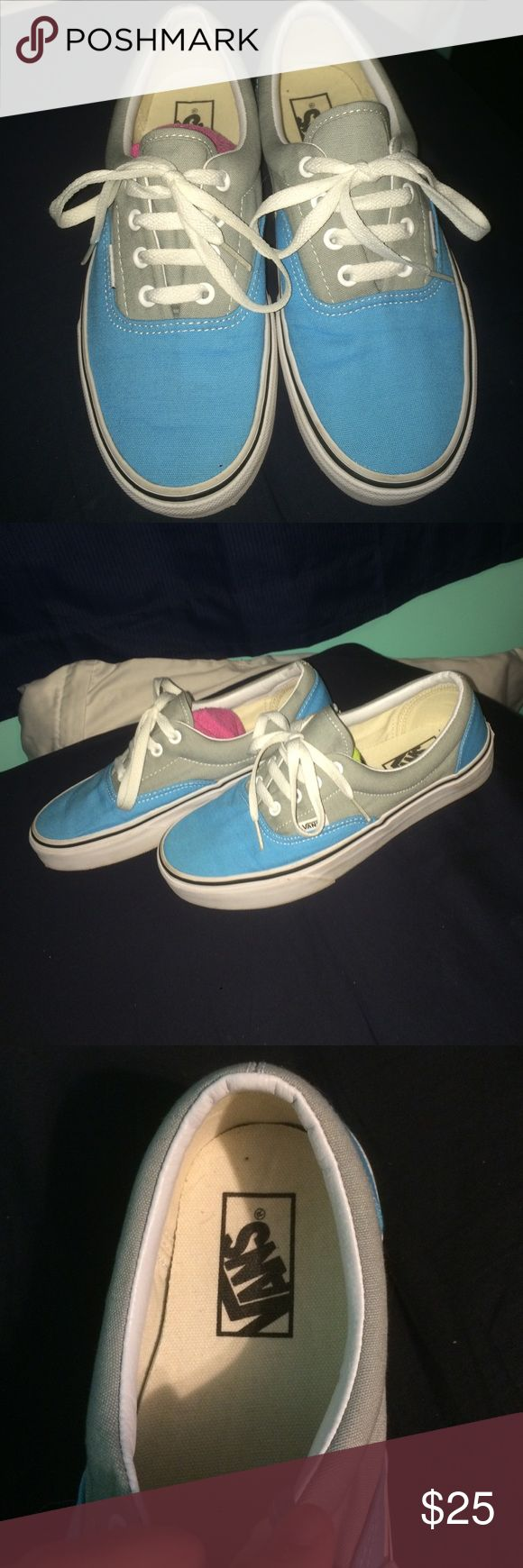 Worn once blue and gray vans 7.5 light gray and light blue Vans Shoes Sneakers