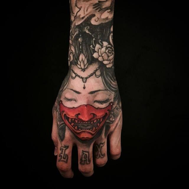 Chronic Ink Tattoo - Toronto Tattoo Hannya mask add on, done by Tristen. #cultural #tattoo #tattoos