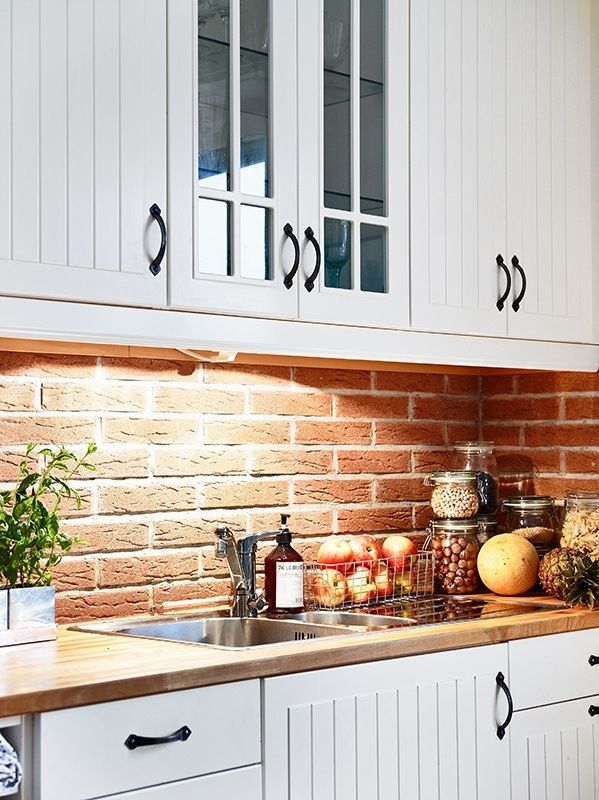brick backsplash and beadboard cabinets; although I probably will beadboard backsplash, dust corners of cabinets with brown, and make a brick pattern on the floor