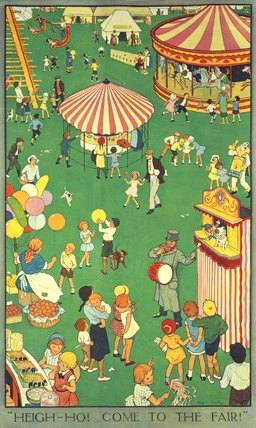 1930's illustration of the country fair, from the V&A collection