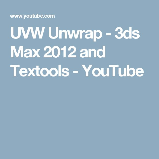 UVW Unwrap - 3ds Max 2012 and Textools - YouTube