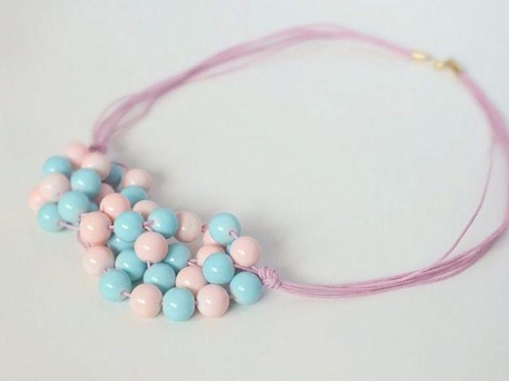 DIY tutorial: Make a Statement Necklace With Pastel Beads  via en.DaWanda.com