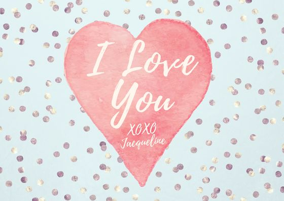 Easy DIY Valentine's Day greeting card template with a pink painted heart and silver confetti. Created by ArtnerDluxe in Canva. Customize your own version @ https://www.canva.com/artnerdluxe. Art elements © ArtnerDluxe www.artnerdluxe.com