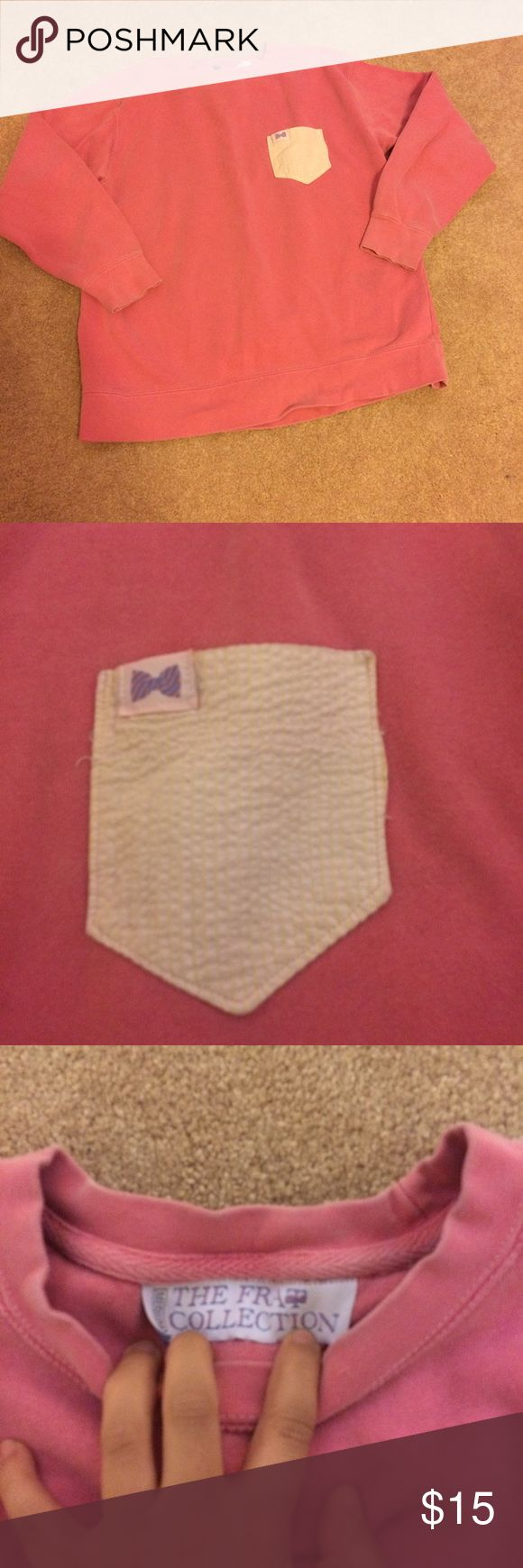 Frat Collection Sweatshirt! Pinky/salmon colored with yellow seersucker pocket. Is by no means brand new. Has been well loved an has some marks. Can take picks of them but are hardly noticeable. Was $80 originally. Vineyard Vines Tops Sweatshirts & Hoodies