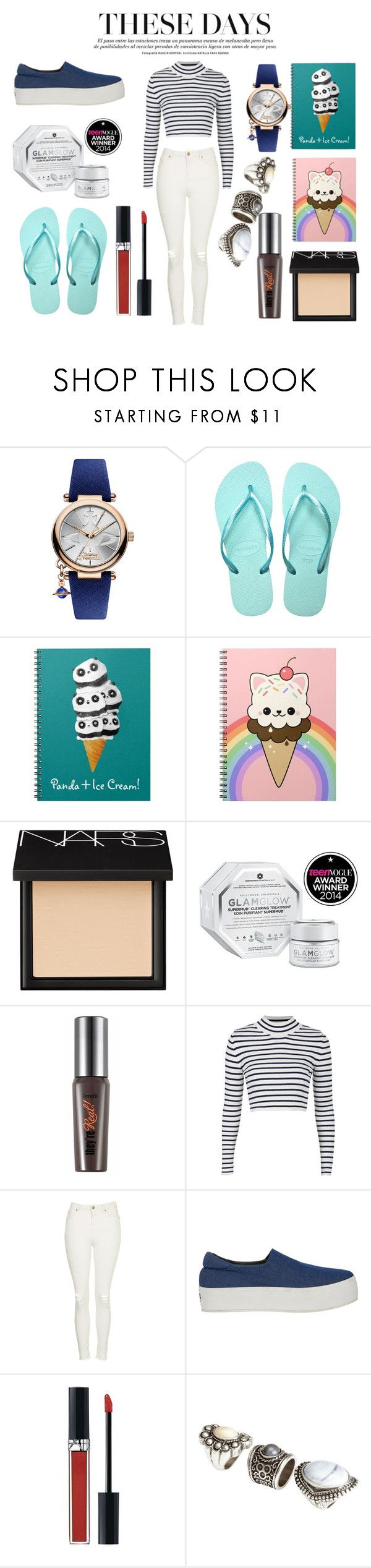"""""""Easter Finals Week"""" by young-booty on Polyvore featuring Vivienne Westwood, Havaianas, NARS Cosmetics, GlamGlow, Benefit, Topshop, Opening Ceremony, Christian Dior and H&M"""