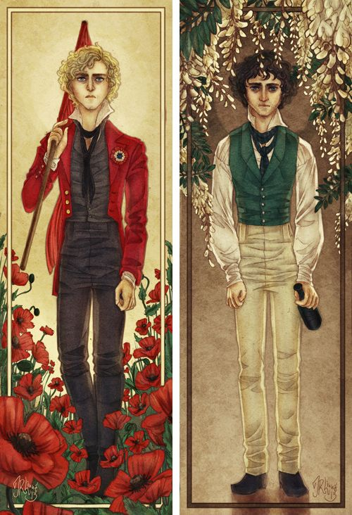 Enjolras and Grantaire with flowers. I really dont know why I like this so much
