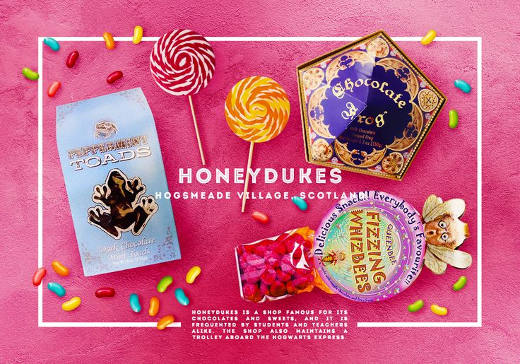 Honeydukes - Hogsmead Village Scotland -- Honeydukes is a shop famous for its chocolate and sweets, and it is frequented by students and teachers alike.  The shop also maintains a trolley aboard the Hogwarts Express.