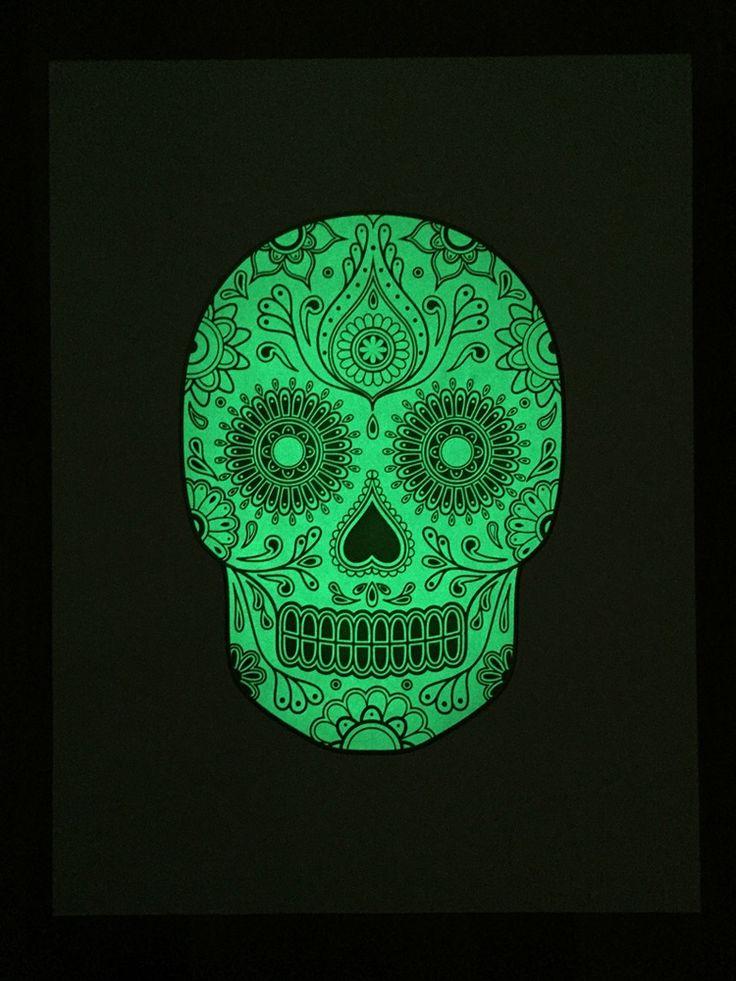 Image of Sugar Skull Screen Print - Glow in the dark