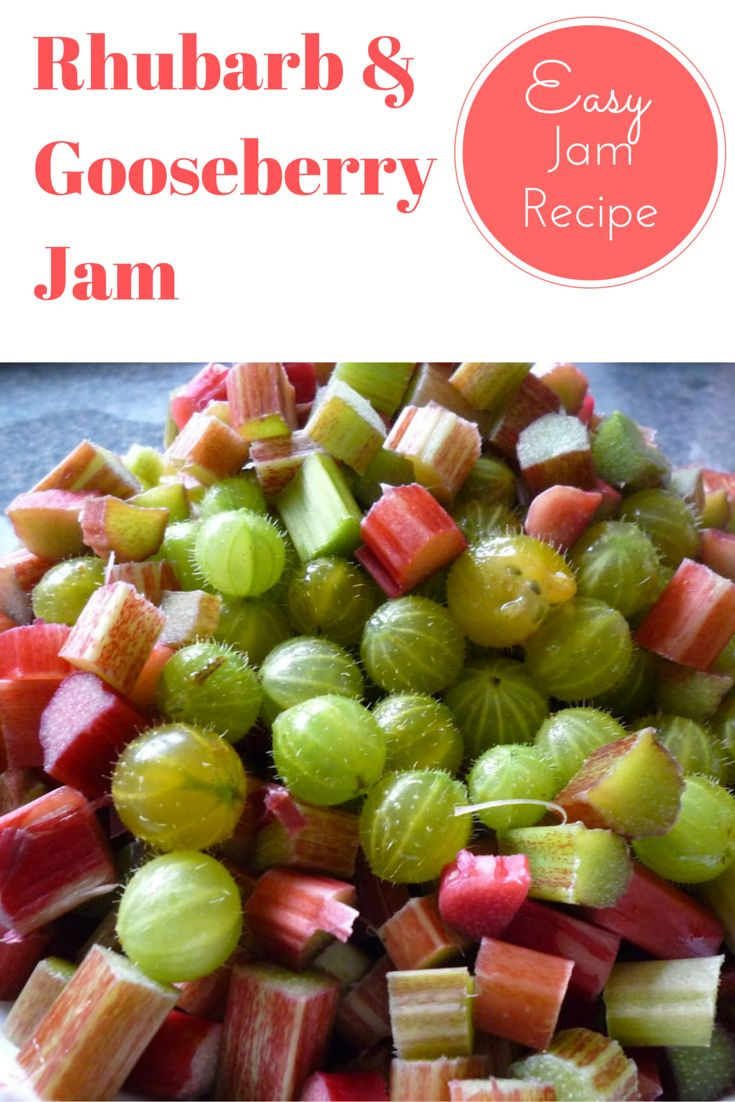 Rhubarb and Gooseberry fruity jam. An easy to make jam recipe. Homemade jam recipe. Note: 800gr = 1.76lbs, knob of butter = 1-2tbsp