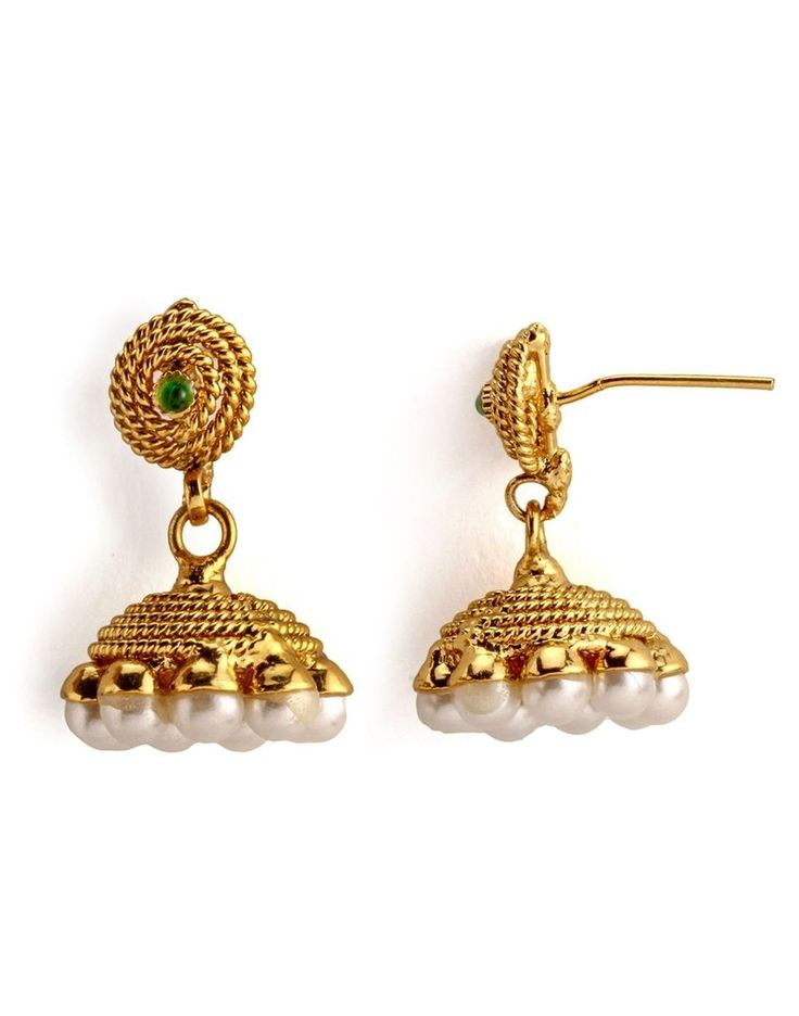 Golden colour and attractive pearl earring. Occasion - Wedding Wear & Traditional Wear