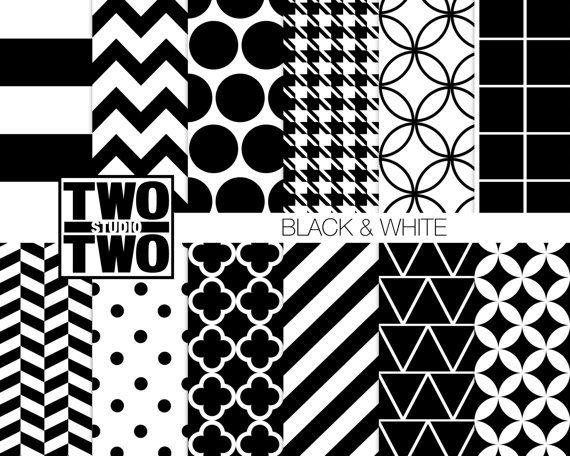 Papier numérique noir et blanc: «BLACK & WHITE PATTERNS» Herringbone, pied de poule, quadrilobe, à pois, rayé fond géométrique rétro
