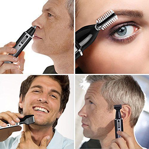 Sportsman Nose Hair Trimmer, Professional Ear Hair Trimmer/Beard Trimmer/Sideburns Trimmer/Eyebrow Trimmer 4 in 1 Rechargeable Stainless Steel Waterproof Blade Personal Trimmer Kit for Men and Women #HairTrimmer