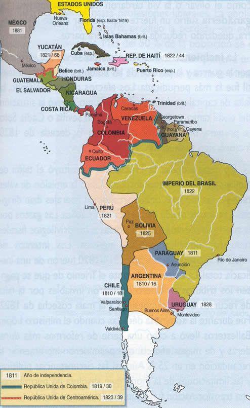 Mapa de la independencia de las colonias americanas