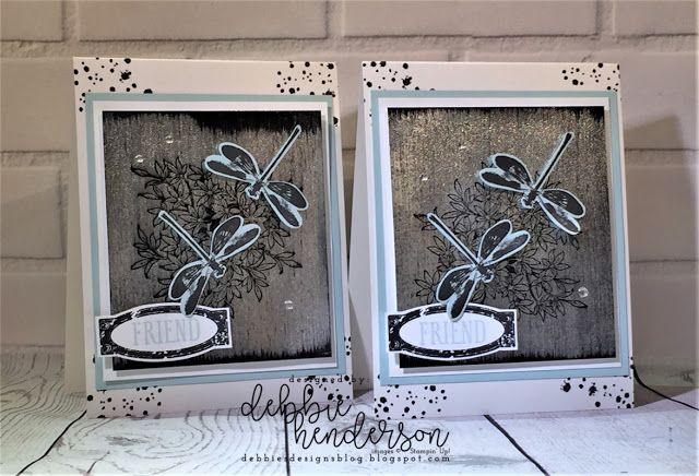 Stampin' Up! Dragonfly Dreams and the Black Ice Technique. Debbie Henderson, Debbie's Designs #stampinup #debbiehenderson #debbiesdesigns #dragonflydreams #blackice #technique #blackicetechnique