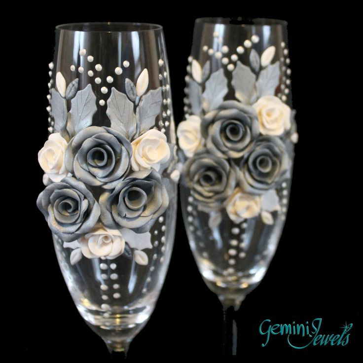 Wedding flutes, decorati a mano in fimo, nozze d'argento, by Gemini Jewels, 49,00 € su misshobby.com