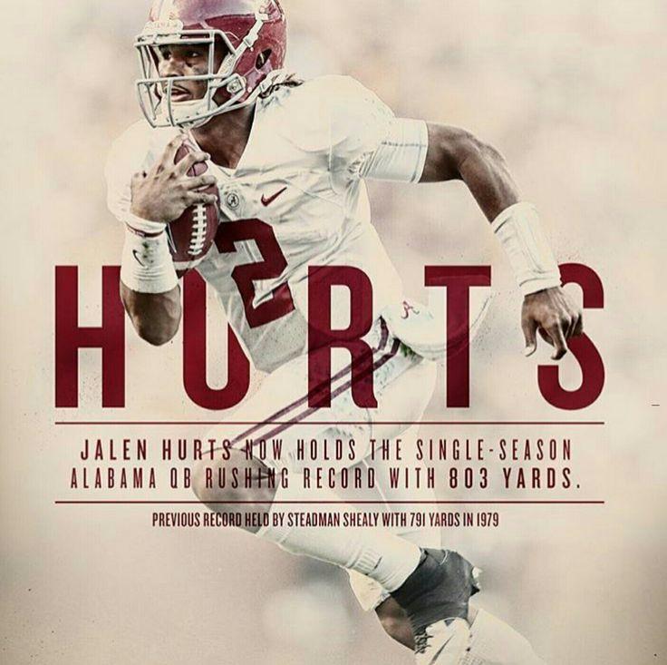 Jalen Hurts, single-season QB rushing record holder for Alabama #Alabama #RollTide #Bama #BuiltByBama #RTR #CrimsonTide #RammerJammer