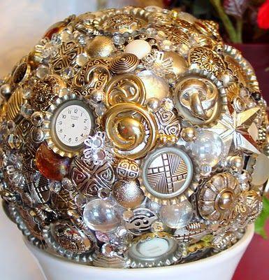 DIY Silver Button Decorator Ball!!!  TUTORIAL  Styrofoam ball, buttons and heated up glue gun!!!!