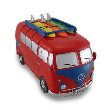 Red / Blue Surfer Van Large Piggy Bank Bus
